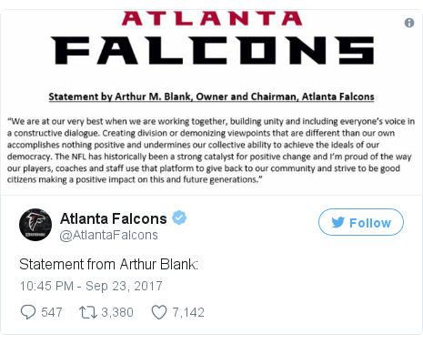 Twitter post by @AtlantaFalcons
