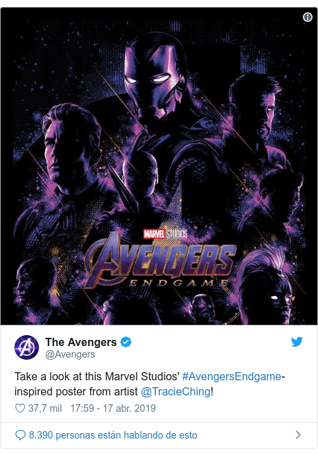 Publicación de Twitter por @Avengers: Take a look at this Marvel Studios' #AvengersEndgame-inspired poster from artist @TracieChing!