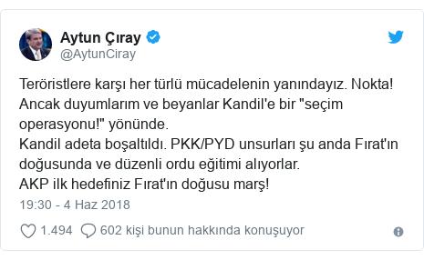 """@AytunCiray tarafından yapılan Twitter paylaşımı: Teröristlere karşı her türlü mücadelenin yanındayız. Nokta! Ancak duyumlarım ve beyanlar Kandil'e bir """"seçim operasyonu!"""" yönünde. Kandil adeta boşaltıldı. PKK/PYD unsurları şu anda Fırat'ın doğusunda ve düzenli ordu eğitimi alıyorlar. AKP ilk hedefiniz Fırat'ın doğusu marş!"""