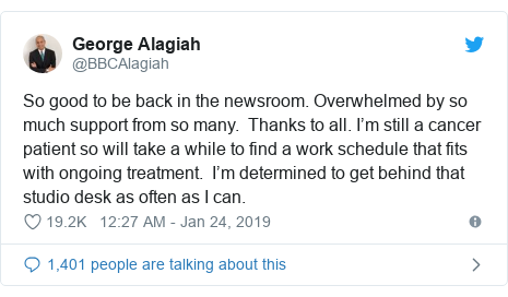 George Alagiah 'overwhelmed' by support after TV news return
