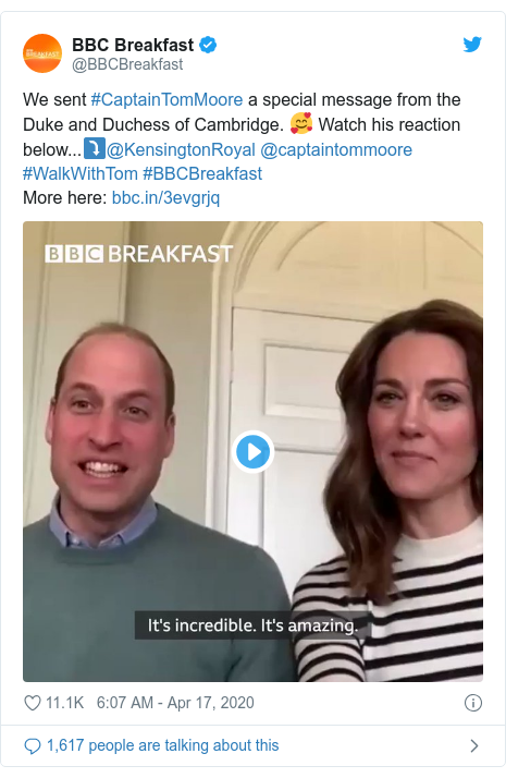 Twitter post by @BBCBreakfast: We sent #CaptainTomMoore a special message from the Duke and Duchess of Cambridge. 🥰 Watch his reaction below...⤵️@KensingtonRoyal @captaintommoore #WalkWithTom #BBCBreakfastMore here