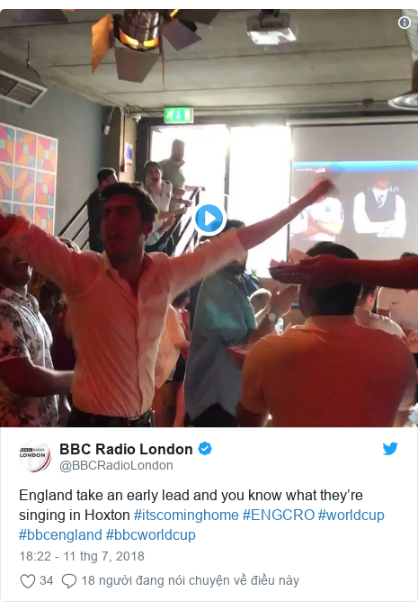 Twitter bởi @BBCRadioLondon: England take an early lead and you know what they're singing in Hoxton #itscominghome #ENGCRO #worldcup #bbcengland #bbcworldcup