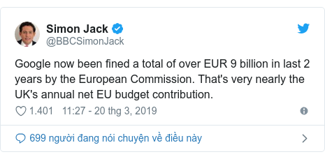 Twitter bởi @BBCSimonJack: Google now been fined a total of over EUR 9 billion in last 2 years by the European Commission. That's very nearly the UK's annual net EU budget contribution.