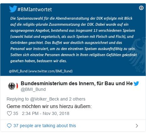 Twitter post by @BMI_Bund: Gerne möchten wir uns hierzu äußern