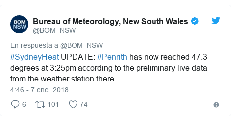Publicación de Twitter por @BOM_NSW: #SydneyHeat UPDATE #Penrith has now reached 47.3 degrees at 3 25pm according to the preliminary live data from the weather station there.