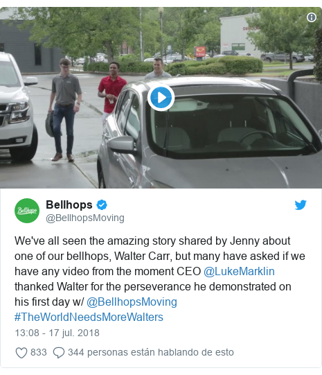Publicación de Twitter por @BellhopsMoving: We've all seen the amazing story shared by Jenny about one of our bellhops, Walter Carr, but many have asked if we have any video from the moment CEO @LukeMarklin thanked Walter for the perseverance he demonstrated on his first day w/ @BellhopsMoving #TheWorldNeedsMoreWalters