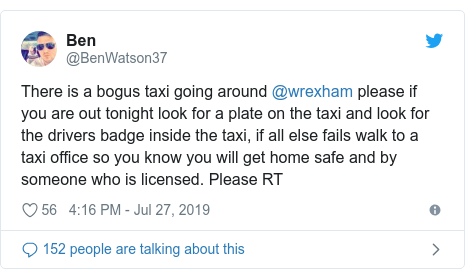 Fake taxi driver' warning to passengers in Wrexham - BBC News