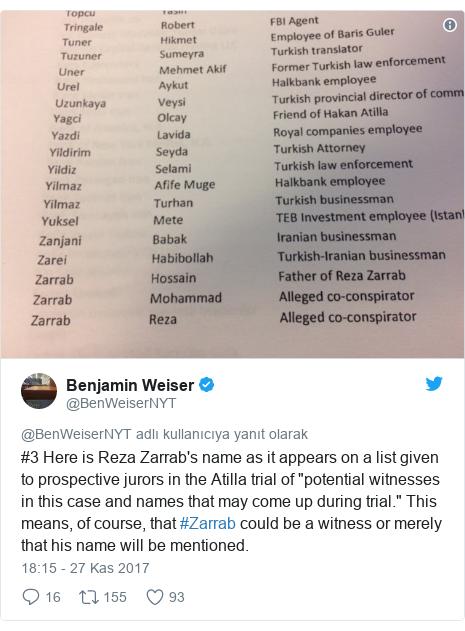 @BenWeiserNYT tarafından yapılan Twitter paylaşımı: #3 Here is Reza Zarrab's name as it appears on a list given to prospective jurors in the Atilla trial of