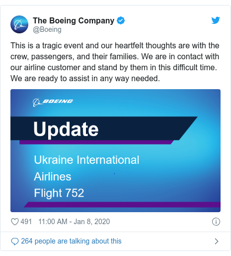Twitter post by @Boeing: This is a tragic event and our heartfelt thoughts are with the crew, passengers, and their families. We are in contact with our airline customer and stand by them in this difficult time.  We are ready to assist in any way needed.