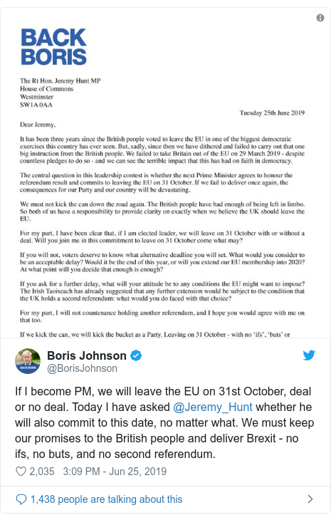 Boris Johnson in 'deal or no deal' Brexit challenge to rival Hunt