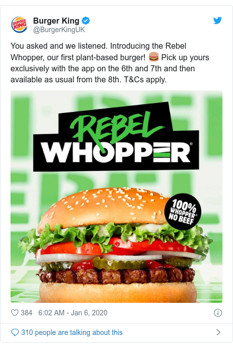 Twitter post by @BurgerKingUK: You asked and we listened. Introducing the Rebel Whopper, our first plant-based burger! ? Pick up yours exclusively with the app on the 6th and 7th and then available as usual from the 8th. T&Cs apply.