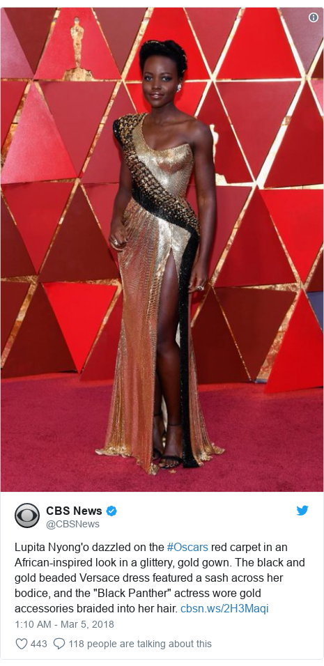 d977055eab1d5 Twitter post by  CBSNews  Lupita Nyong o dazzled on the  Oscars red