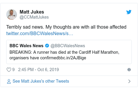 Twitter post by @CCMattJukes: Terribly sad news. My thoughts are with all those affected