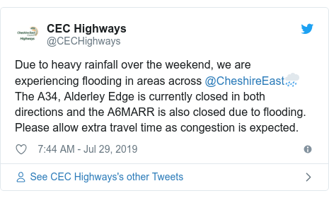 Twitter post by @CECHighways: Due to heavy rainfall over the weekend, we are experiencing flooding in areas across @CheshireEast🌧️ The A34, Alderley Edge is currently closed in both directions and the A6MARR is also closed due to flooding. Please allow extra travel time as congestion is expected.