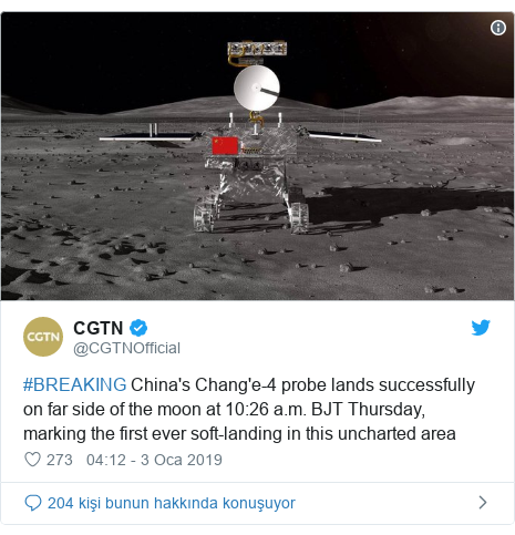 @CGTNOfficial tarafından yapılan Twitter paylaşımı: #BREAKING China's Chang'e-4 probe lands successfully on far side of the moon at 10 26 a.m. BJT Thursday, marking the first ever soft-landing in this uncharted area