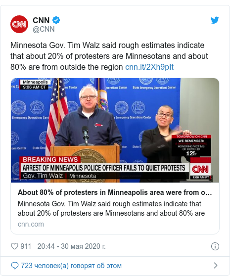 Twitter пост, автор: @CNN: Minnesota Gov. Tim Walz said rough estimates indicate that about 20% of protesters are Minnesotans and about 80% are from outside the region