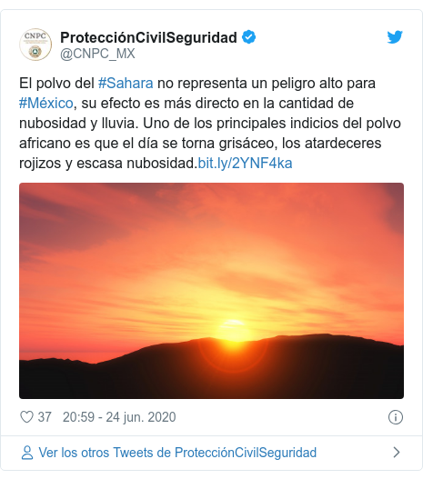 Publicación de Twitter por @CNPC_MX: El polvo del #Sahara no representa un peligro alto para #México, su efecto es más directo en la cantidad de nubosidad y lluvia. Uno de los principales indicios del polvo africano es que el día se torna grisáceo, los atardeceres rojizos y escasa nubosidad.