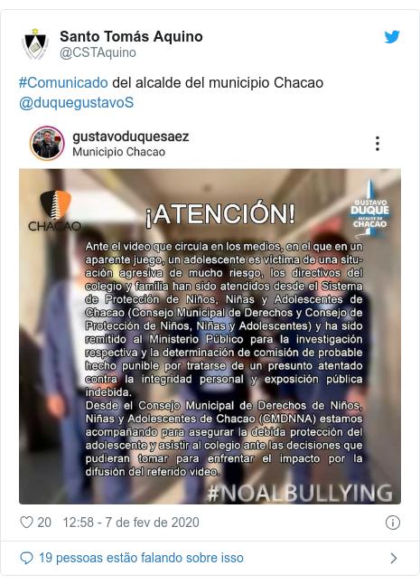 Twitter post de @CSTAquino: #Comunicado del alcalde del municipio Chacao @duquegustavoS