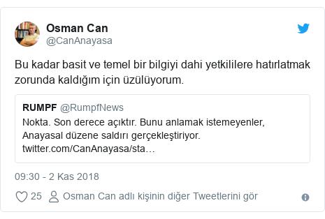 @CanAnayasa tarafından yapılan Twitter paylaşımı: Bu kadar basit ve temel bir bilgiyi dahi yetkililere hatırlatmak zorunda kaldığım için üzülüyorum.