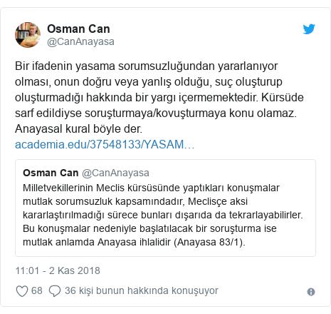 @CanAnayasa tarafından yapılan Twitter paylaşımı: Bir ifadenin yasama sorumsuzluğundan yararlanıyor olması, onun doğru veya yanlış olduğu, suç oluşturup oluşturmadığı hakkında bir yargı içermemektedir. Kürsüde sarf edildiyse soruşturmaya/kovuşturmaya konu olamaz. Anayasal kural böyle der.