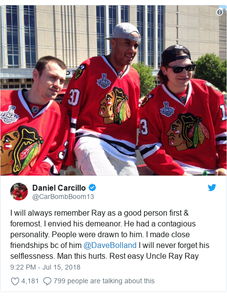902d2bd51 Twitter post by  CarBombBoom13  I will always remember Ray as a good person  first