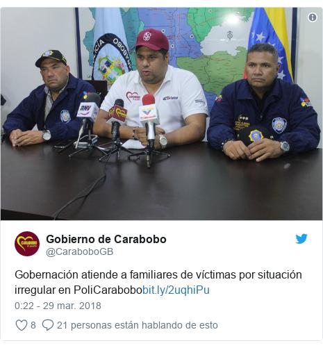 Publicación de Twitter por @CaraboboGB: Gobernación atiende a familiares de víctimas por situación irregular en PoliCarabobo