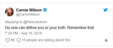 Twitter post by @CarnieWilson: No one can define you or your truth. Remember that.
