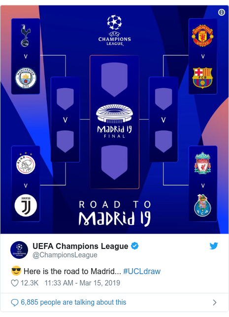 Twitter post by @ChampionsLeague: 😎 Here is the road to Madrid... #UCLdraw