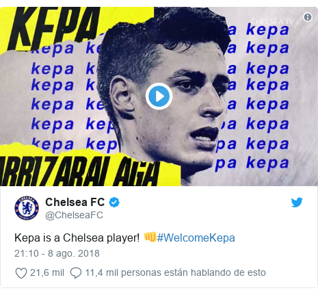 Publicación de Twitter por @ChelseaFC: Kepa is a Chelsea player! 👊#WelcomeKepa