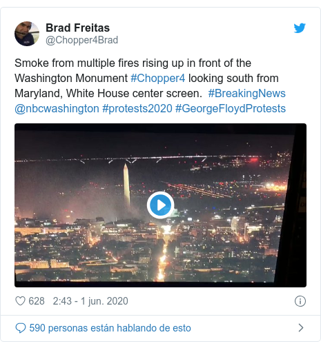 Publicación de Twitter por @Chopper4Brad: Smoke from multiple fires rising up in front of the Washington Monument #Chopper4 looking south from Maryland, White House center screen.  #BreakingNews @nbcwashington #protests2020 #GeorgeFloydProtests