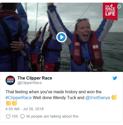 Twitter post by @ClipperRace: That feeling when you've made history and won the #ClipperRace Well done Wendy Tuck and @VisitSanya 👏👏👏