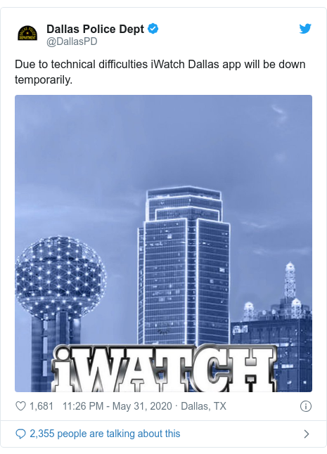 Twitter post by @DallasPD: Due to technical difficulties iWatch Dallas app will be down temporarily.
