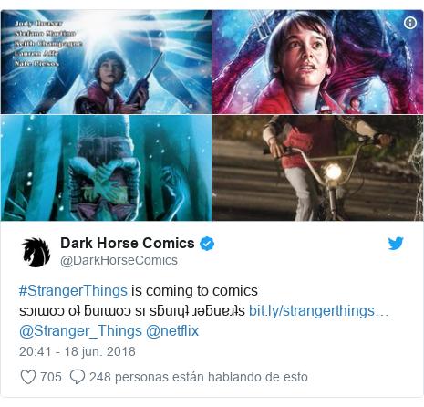 Publicación de Twitter por @DarkHorseComics: #StrangerThings is coming to comics sɔᴉɯoɔ oʇ ƃuᴉɯoɔ sᴉ sƃuᴉɥʇ ɹǝƃuɐɹʇs @Stranger_Things @netflix