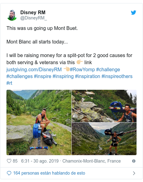 Publicación de Twitter por @DisneyRM_: This was us going up Mont Buet.Mont Blanc all starts today...I will be raising money for a split-pot for 2 good causes for both serving & veterans via this 👉🏼 link  👈🏼#RowYomp #challenge #challenges #inspire #inspiring #inspiration #inspireothers #rt