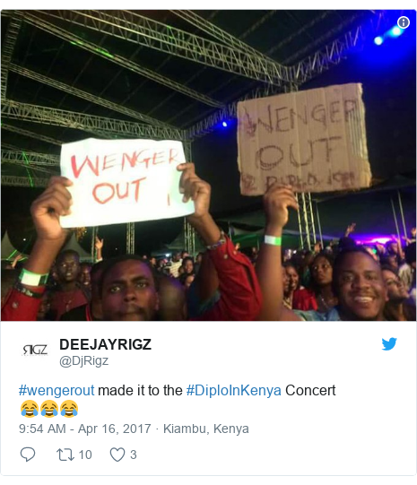 Twitter post by @DjRigz: #wengerout made it to the #DiploInKenya Concert😂😂😂