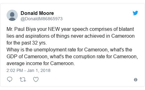 Cameroon: Weti no deh President Paul Biya e New Year message? - BBC ...