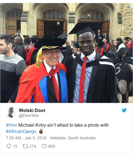 Twitter post by @DoorWol: #Hon Michael Kirby ain't afraid to take a photo with #AfricanGangs ✌🏿