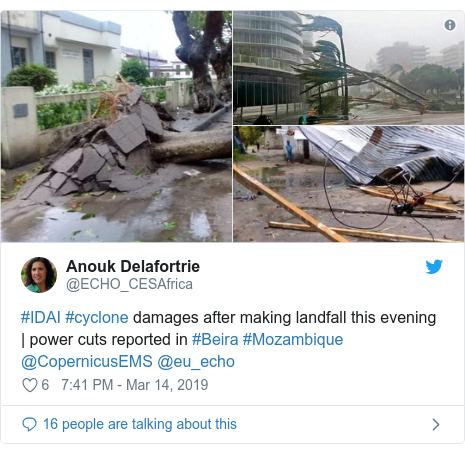 Twitter post by @ECHO_CESAfrica: #IDAI #cyclone damages after making landfall this evening   power cuts reported in #Beira #Mozambique @CopernicusEMS @eu_echo