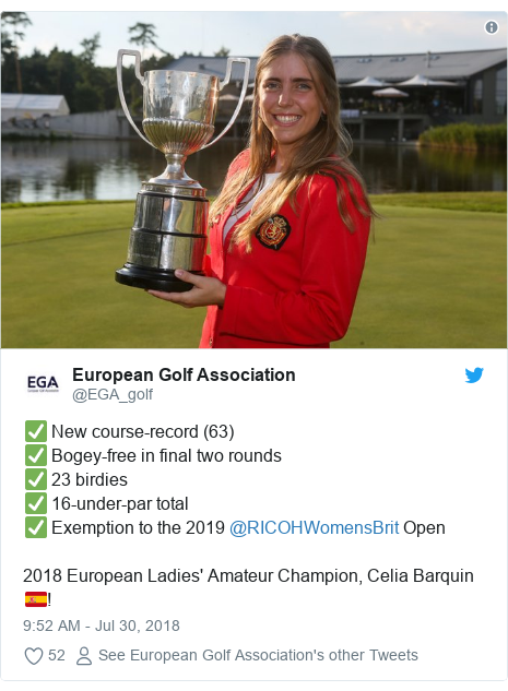 Twitter post by @EGA_golf: ✅ New course-record (63)✅ Bogey-free in final two rounds✅ 23 birdies✅ 16-under-par total✅ Exemption to the 2019 @RICOHWomensBrit Open2018 European Ladies' Amateur Champion, Celia Barquin🇪🇸!