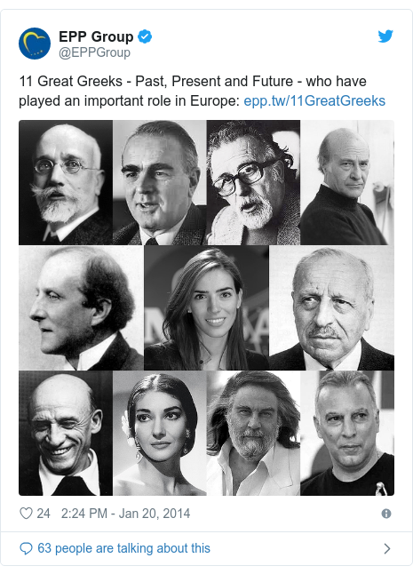 Twitter post by @EPPGroup: 11 Great Greeks - Past, Present and Future - who have played an important role in Europe