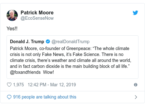Greenpeace hits back at Trump tweet on climate change denial - BBC News