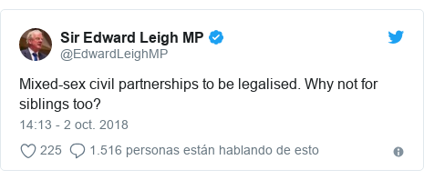 Publicación de Twitter por @EdwardLeighMP: Mixed-sex civil partnerships to be legalised. Why not for siblings too?