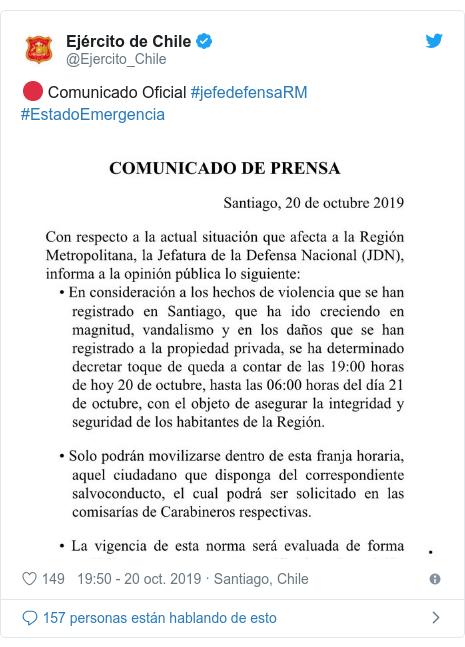 Publicación de Twitter por @Ejercito_Chile: 🔴 Comunicado Oficial #jefedefensaRM #EstadoEmergencia