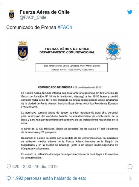 Publicación de Twitter por @FACh_Chile: Comunicado de Prensa #FACh
