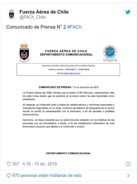 Publicación de Twitter por @FACh_Chile: Comunicado de Prensa N° 2 #FACh