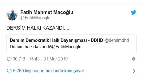 @FatihMacoglu tarafından yapılan Twitter paylaşımı: DERSİM HALKI KAZANDI....