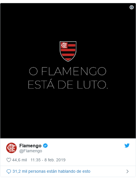 Publicación de Twitter por @Flamengo: