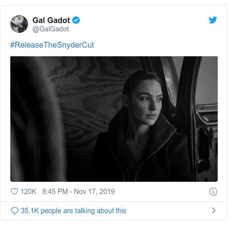 Twitter post by @GalGadot: #ReleaseTheSnyderCut
