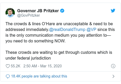 Ujumbe wa Twitter wa @GovPritzker: The crowds & lines O'Hare are unacceptable & need to be addressed immediately.@realDonaldTrump @VP since this is the only communication medium you pay attention to—you need to do something NOW.These crowds are waiting to get through customs which is under federal jurisdiction