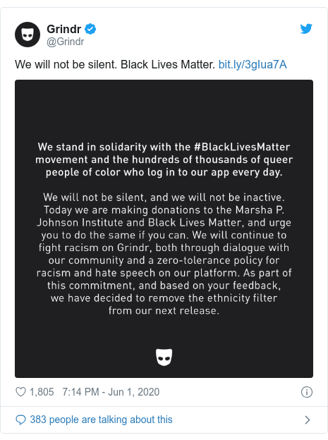 Twitter post by @Grindr: We will not be silent. Black Lives Matter.